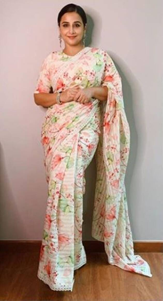vidya balan, vidya balan sari looks, vidya balan instagram, vidya balan sari looks, shakuntala devi promotions, indian express, indian express news