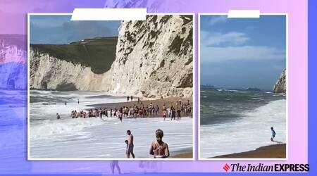 England, Durdle Door, man stranded at sea, human chain, Dorset, sea rescue, viral video, rescue videos, Trending news, Indian Express news.