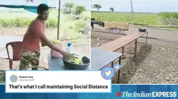 covid-19, coronavirus, indian jugaad, village boy social distancing jugaad viral video, indian express, indian express news