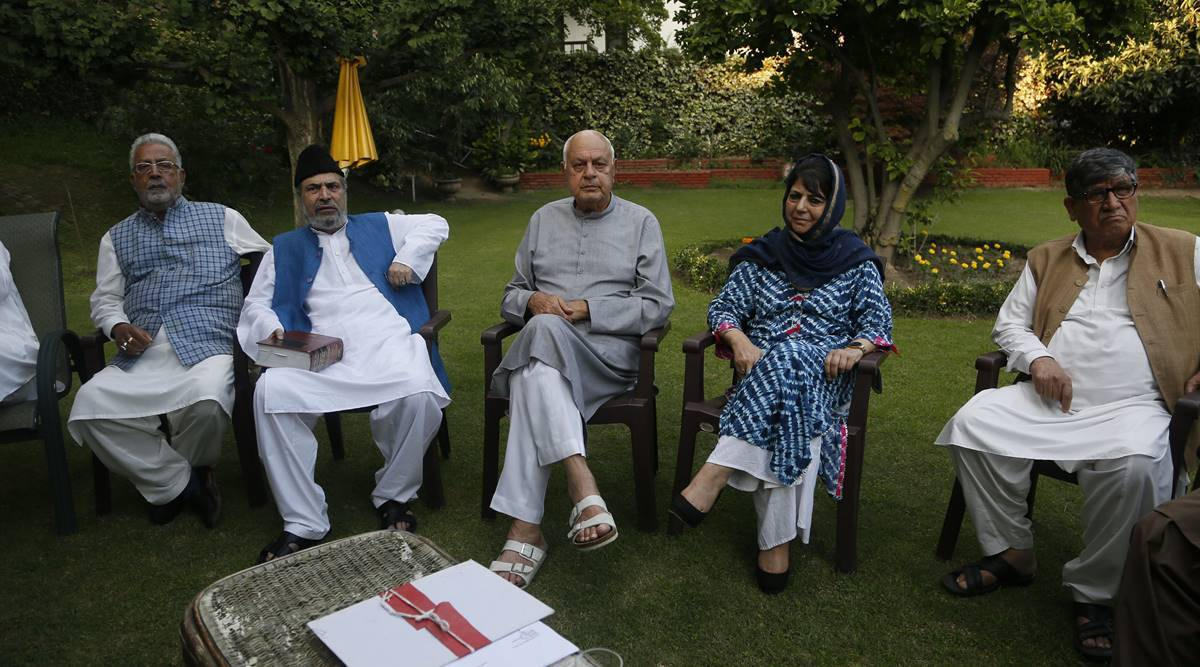 Kashmir all-party meeting, all-party meeting Jammu and Kashmir, Jammu and Kashmir bifurcation, Article 370, Article 370 abrogation, India news, Indian Express