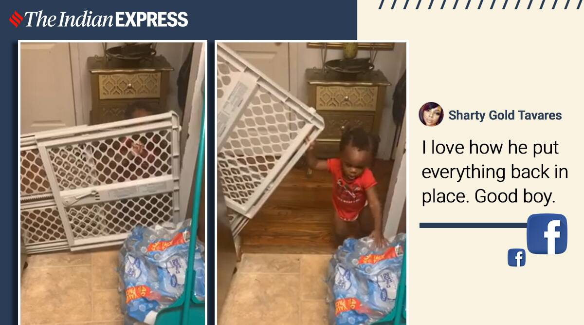 little kid sneaks inside kitchen viral video, funny kid viral video, trending, twitter reactions, indian express, indian express news