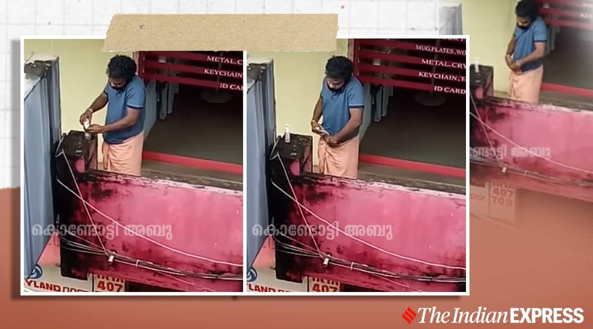 man steals hand sanitiser viral video, hand sanitiser theft, funny viral video, trending, indian express, indian express news