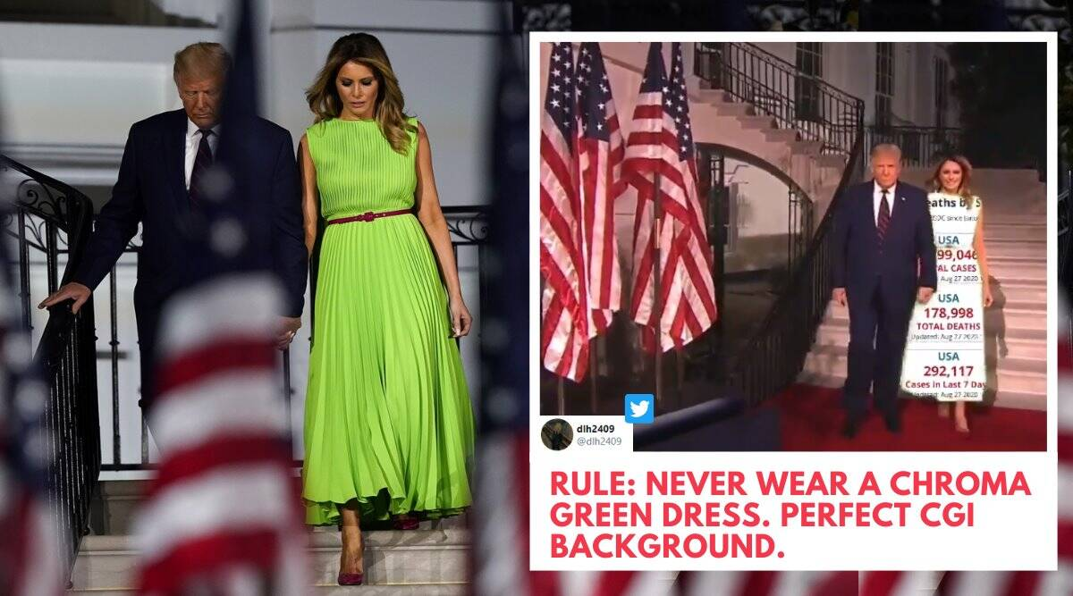 melania trump, melania trump green dress, melania green screen challenge, melania rnc green dress, melania green dress memes, viral news, rnc 2020, indian express