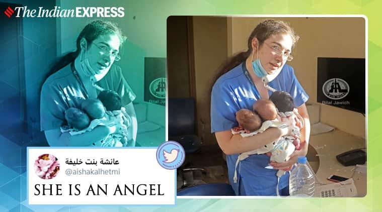 beirut blast, beirut port explosion, beirut blast aftermath, lebanon hospital nurse viral photos, beirut nurse save newborns, beirut hospital nurse hero, viral news, indian express