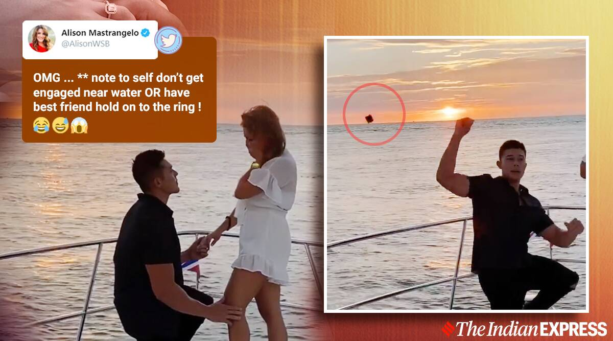 wedding proposal, proposal gone wrong, ring box tossed in ocean, boat wedding proposal gone wrong, best man toss ring box in water, wedding proposal prank, viral news, indian express