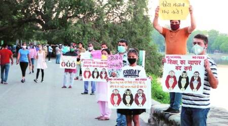 Parents stage protest against private schools, allege they're facing pressure to pay full fee