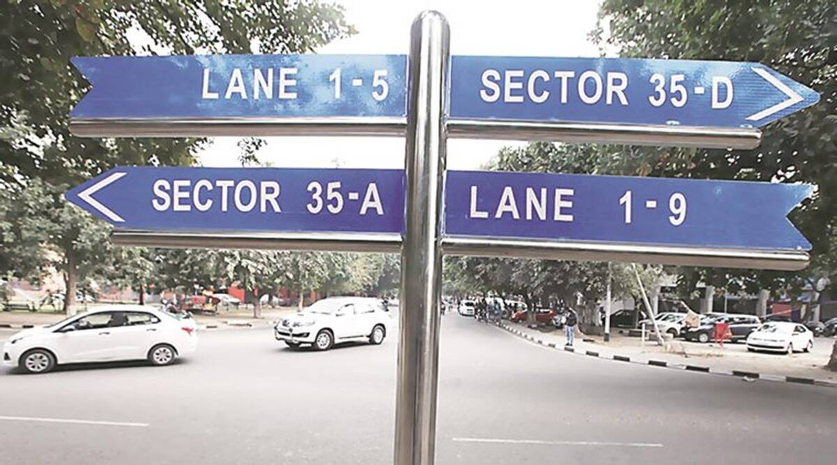 chandigarh Sector 48, chandigarh Sector 48 house indicator sign boards, Satya Pal Jain, Davesh Moudgil, indian express news