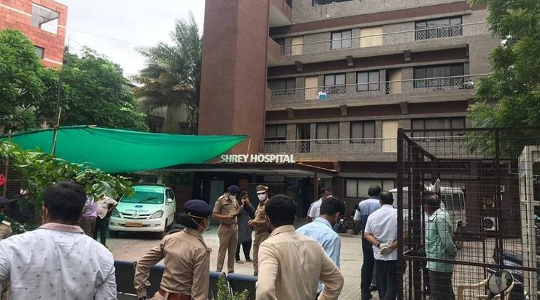Ahmedabad covid hospital fire, amc, ahmedabad shrey hospital fire, ahmedabad shrey covid hospital fire deaths, indian express news