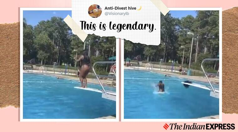 woman's wig falls off dive viral video, Gwinnett County, Georgia, funny viral video