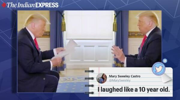 donald trump, donald trump interview spoof viral video, corona virus deaths US, twitter, trending, indian express, indian express news