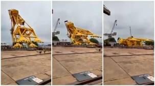 visakhapatnam shipyard, visakhapatnam shipyard crane, visakhapatnam shipyard crane accident, hindustan shipyard accident, hindustan shipyard accident today, hindustan shipyard accident news,hindustan shipyard crane accident, hindustan shipyard crane collapse, hindustan shipyard crane collapse today, vizag hindustan shipyard crane collapse