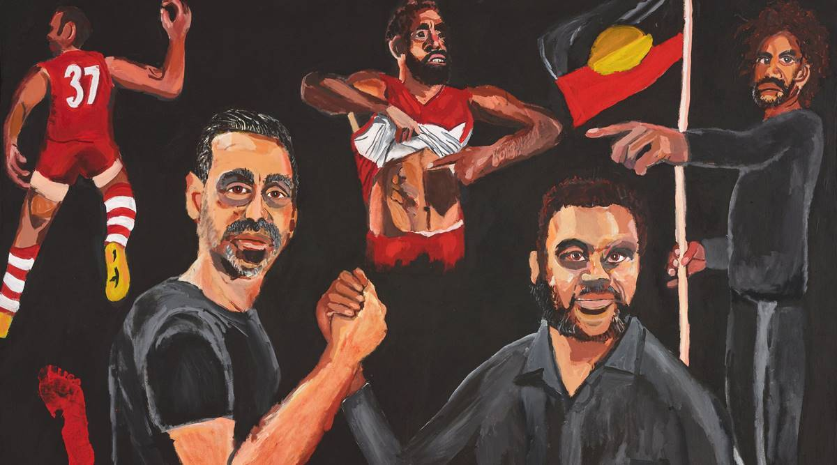 Vincent Namatjira Archibald Prize, Aboriginal artist Vincent Namatjira, Adam Goodes painting 'Stand Strong for Who You Are