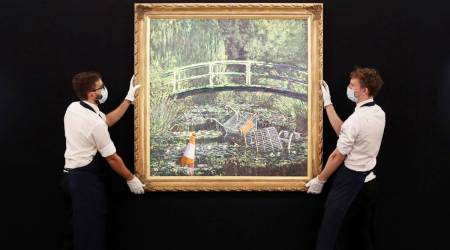 Banksy, Banksy oil painting exhibition, Banksy painting auction in London, indian express news