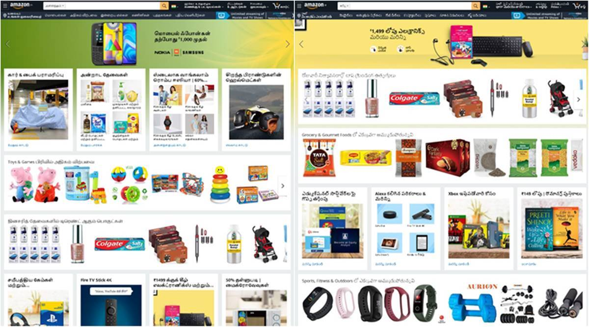 Now shop on Amazon.in in Kannada, Malayalam, Tamil and Telugu