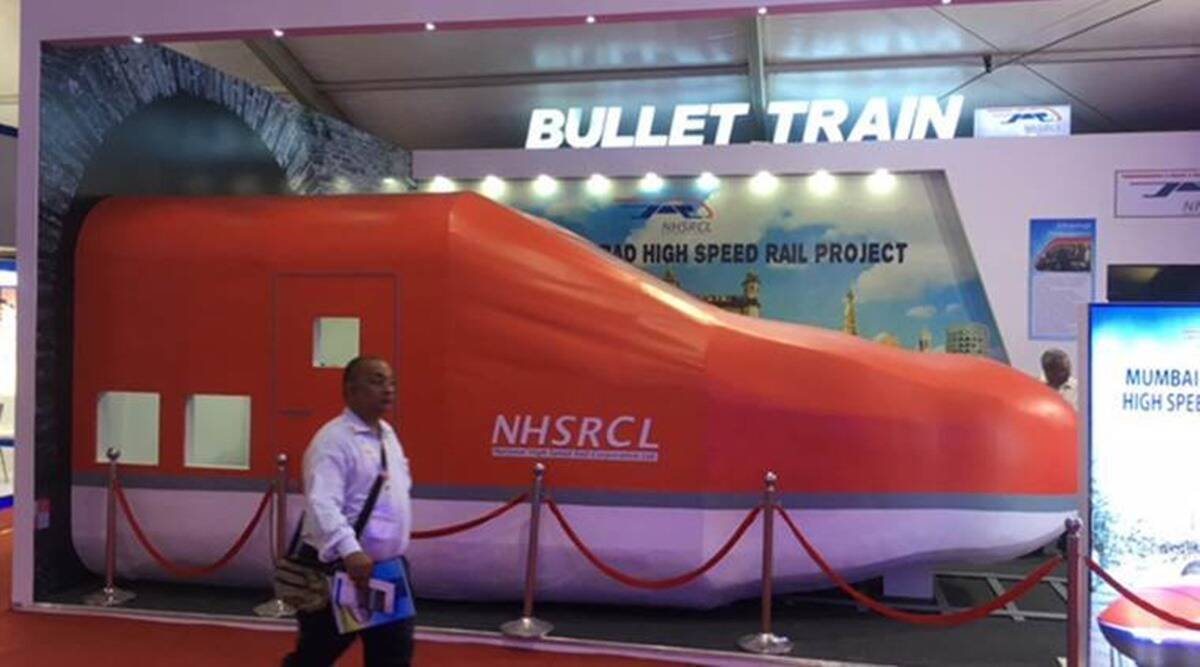 ahmedabad mumbai bullet train project, bullet train project work, bullet train construction, ahmedabad bullet train bidding, indian express news