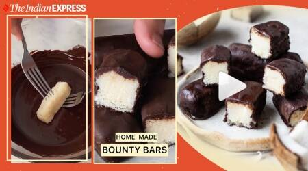 bounty bars, chocolate bars, chocolate recipes, desserts, easy desserts at home, easy chcoolate recipes, indianexpress.com, indianexpress,