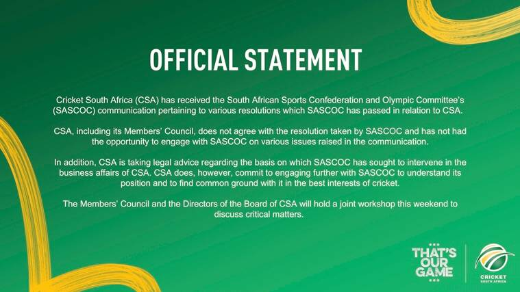 south africa, south africa cricket, south africa cricket board suspended, south africa cricket news