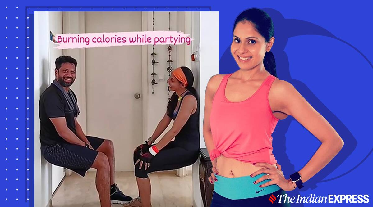 wall sits, wall squats, couple workouts, chhavi hussein fitness, fitness goals, indianexpress.com,