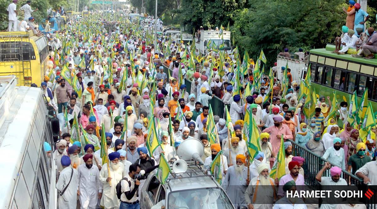 Haryana farmers protest, opposition party protests, Haryana farm bill protest, Haryana farmers protest, Indian express
