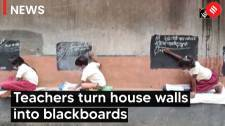 House walls turned into blackboards in Jharkhand village