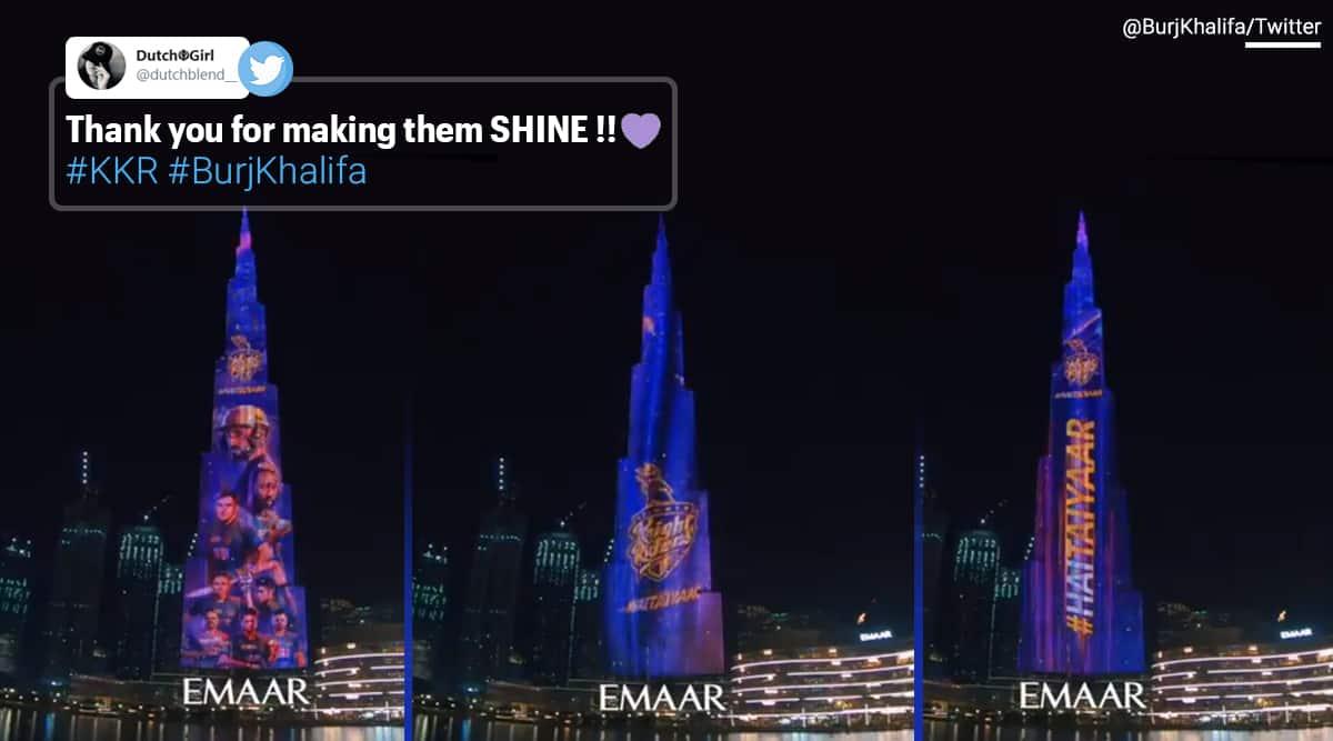 Burj Khalifa kkr colours, Burj Khalifa, Burj Khalifa lights, KKR colours, IPL 2020, KKR vs MI, KKR MI ILP match, Trending news, Sports news, Burj Khalifa srk, Burj Burj Khalifa purple and gold, Viral video, Indian Express news.