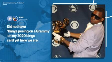 Kanye West, Grammy awards, Grammy urinations, Kanye west Grammy pee, Viral video, Kanye West for president, Kanye west songs, Kim Kardashian, Trending news, Indian Express news