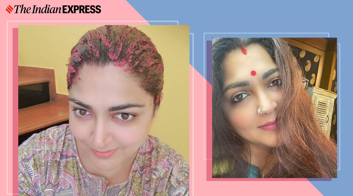 hair mask for hair fall, how to control hair fall, indianexpress.com, khushbu sundar, actor khushbu hair, homemade hair mask, how to control dandruff, hibiscus for hair, indianexpress,