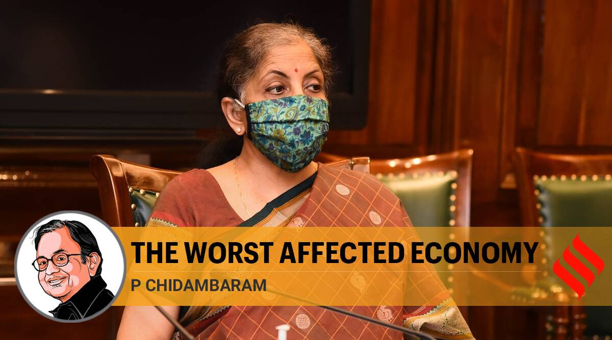 india economic slowdown, india gdp fall, india gdp data, act of god nirmala sitharaman, covid 19 impact on indian economy, p chidambaram