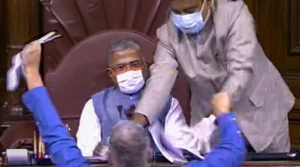 Rajya Sabha, Rajya Sabha MPs suspended, Suspension of MP, Farm Bills, Indian Express