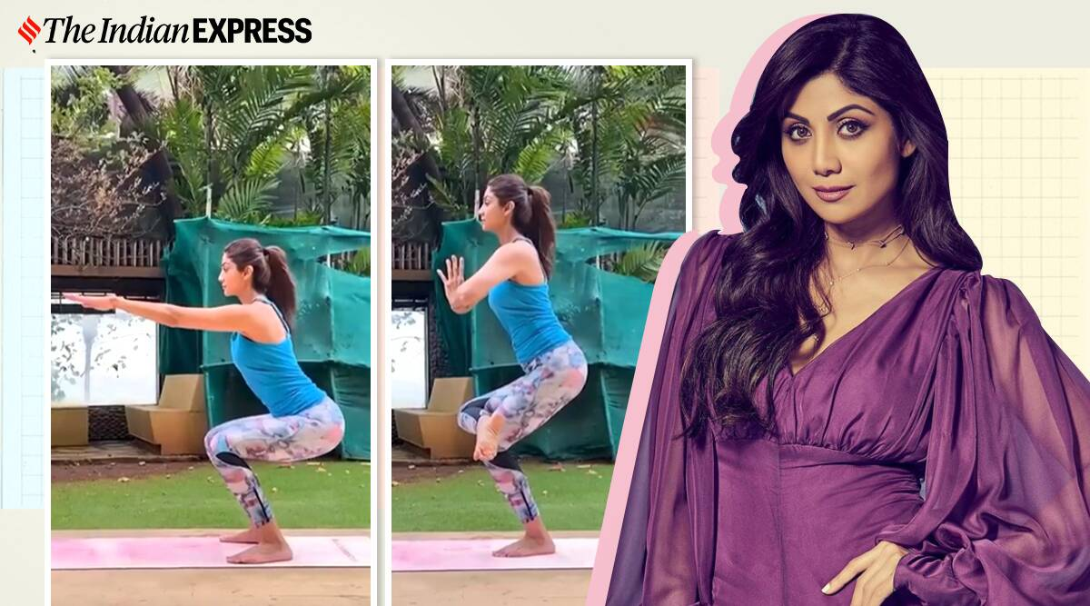 shilpa shetty fitness, fitness goals, utkatasana how to do, chair pose, one-legged chair pose, indianexpress.com, indianexpress,