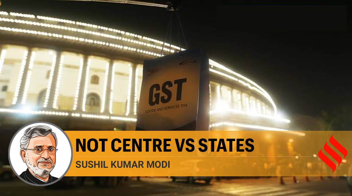 GST, Centre vs State on GST, gst compensation payments, covid impact on gst compensation, coronavirus gst compensation payments, nirmala sitharaman, Sushil Modi writes, Indian express opinion
