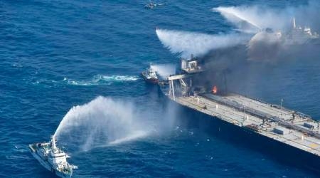 sri lanka tanker fire, indian oil tanker fire photos, Oil tanker fire pics, tanker fire, Tanker fire rescue operations, indian express