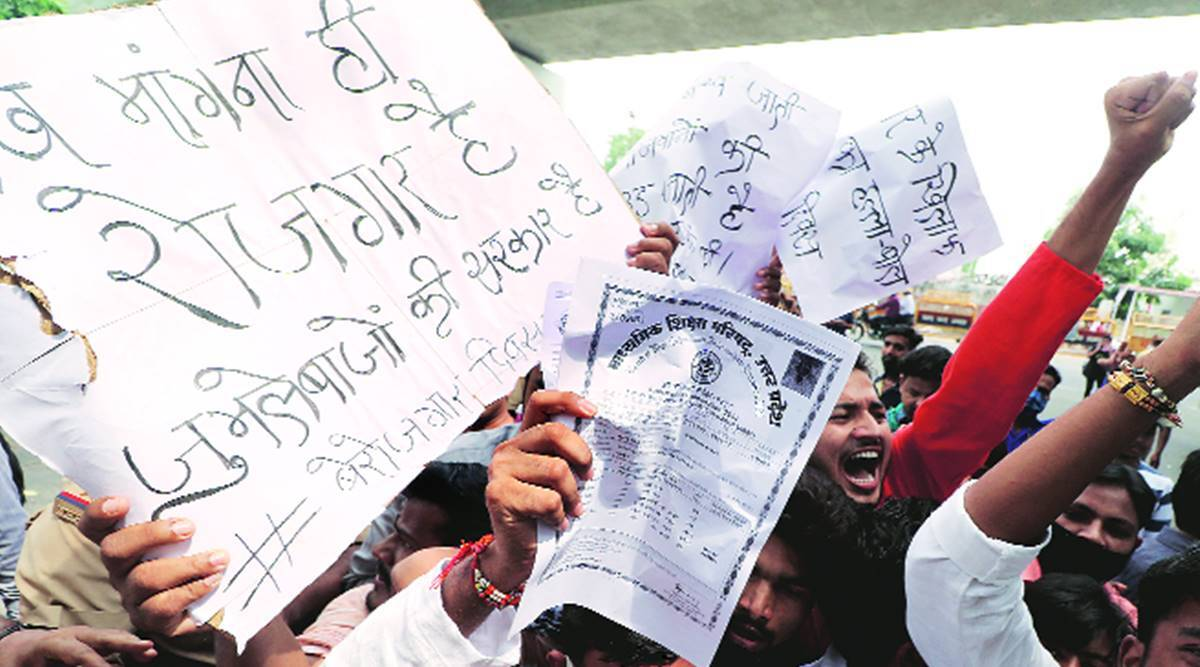 UP protest, unemployment, SP leaders held, Lucknow news, Indian express news