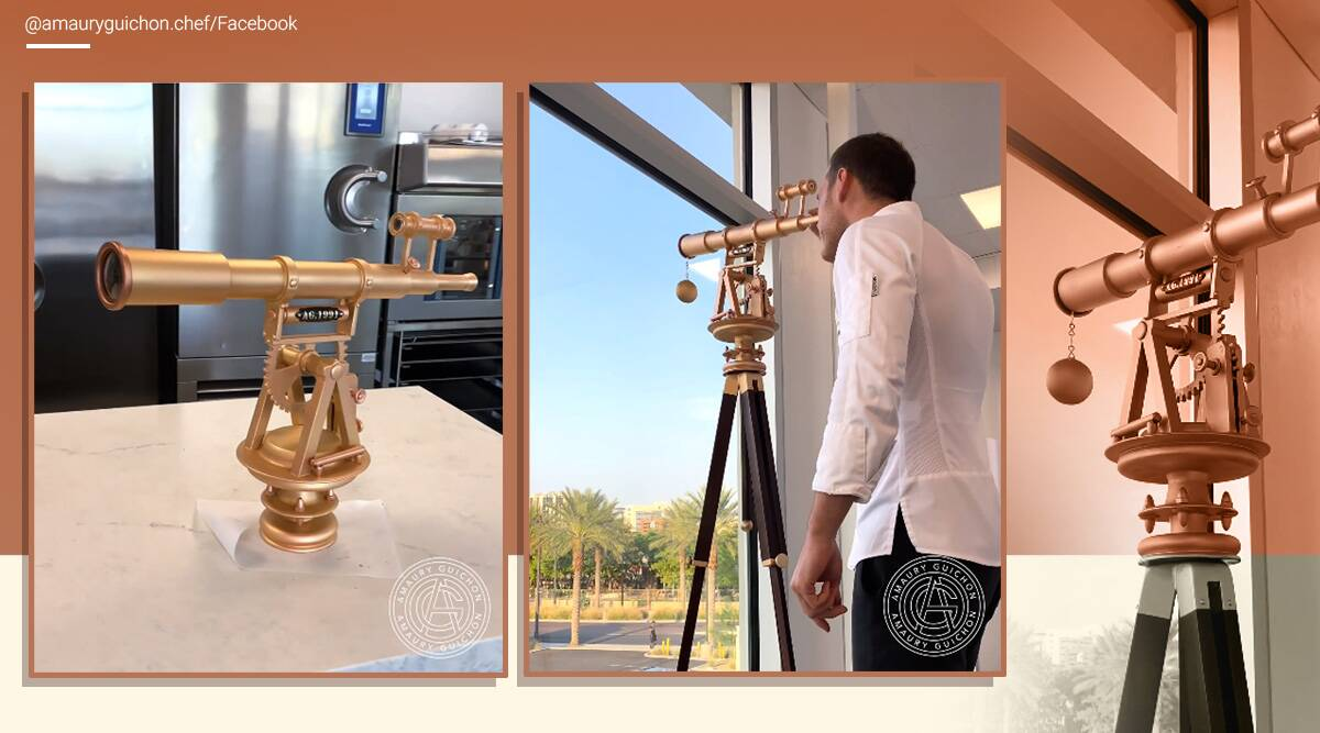 5-foot tall moveable telescope made from chocolate, Las Vegas, Amaury Guichon, edible telescope, chocolate telescope, trending news, indian express news