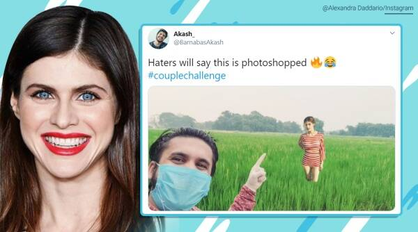 Alexandra Daddario, couple's challenge, Bareilly, Up, Social media challenge, Alexandra Daddario couple's challenge picture, trending news, Indian Express news.