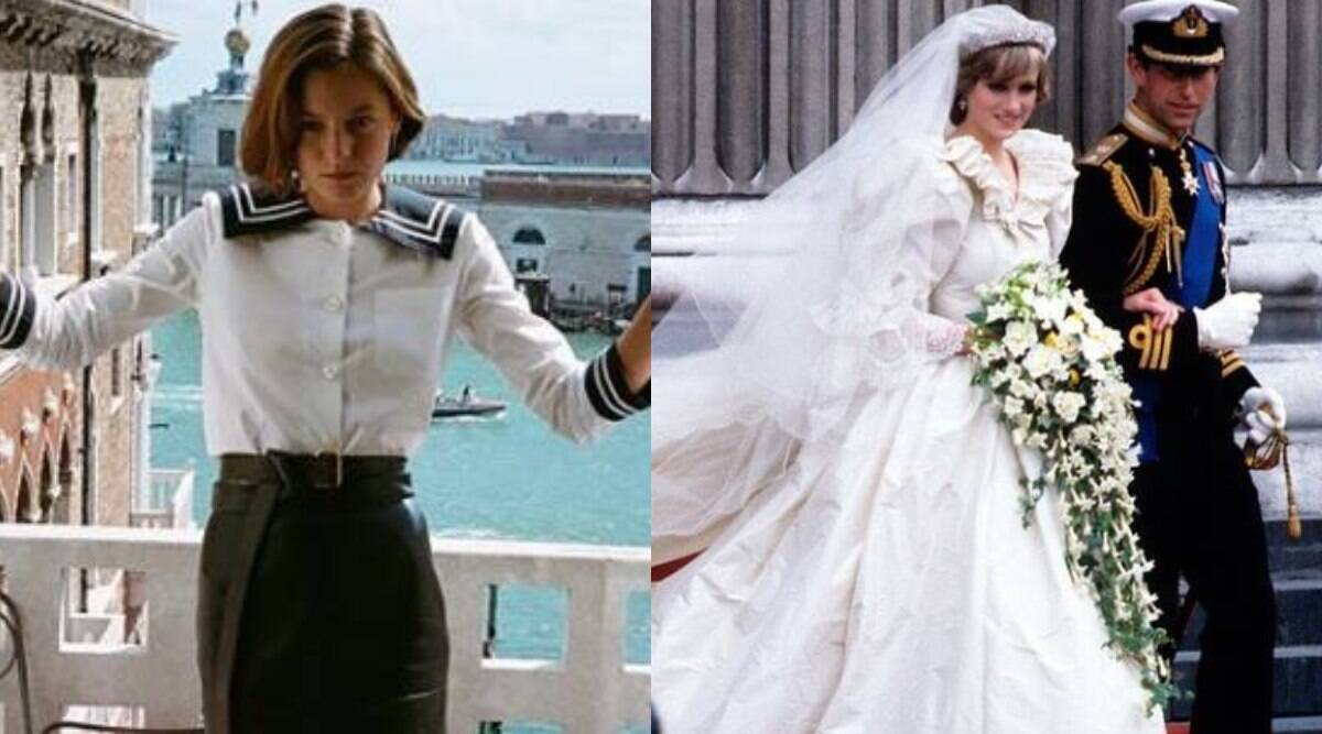 the crown s emma corrin needed 10 people to wear replica of diana s wedding dress lifestyle news the indian express wear replica of diana s wedding dress