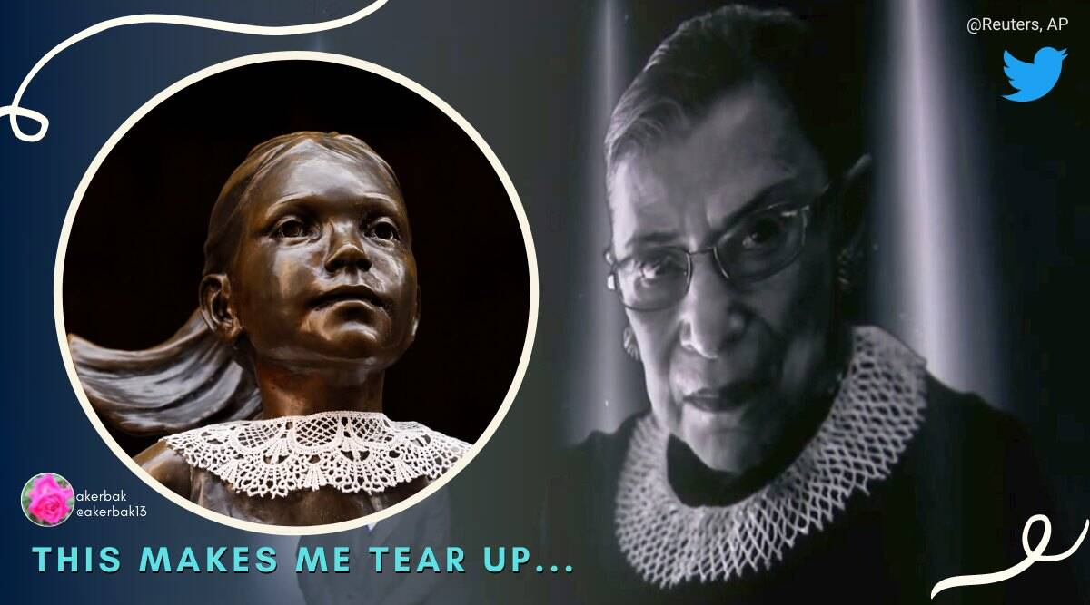 fearless girl, fearless girl statue, Ruth Bader Ginsburg, Ruth Bader Ginsburg fearless girl, fearless girl collar, Ruth Bader Ginsburg collar, indian express, indian express