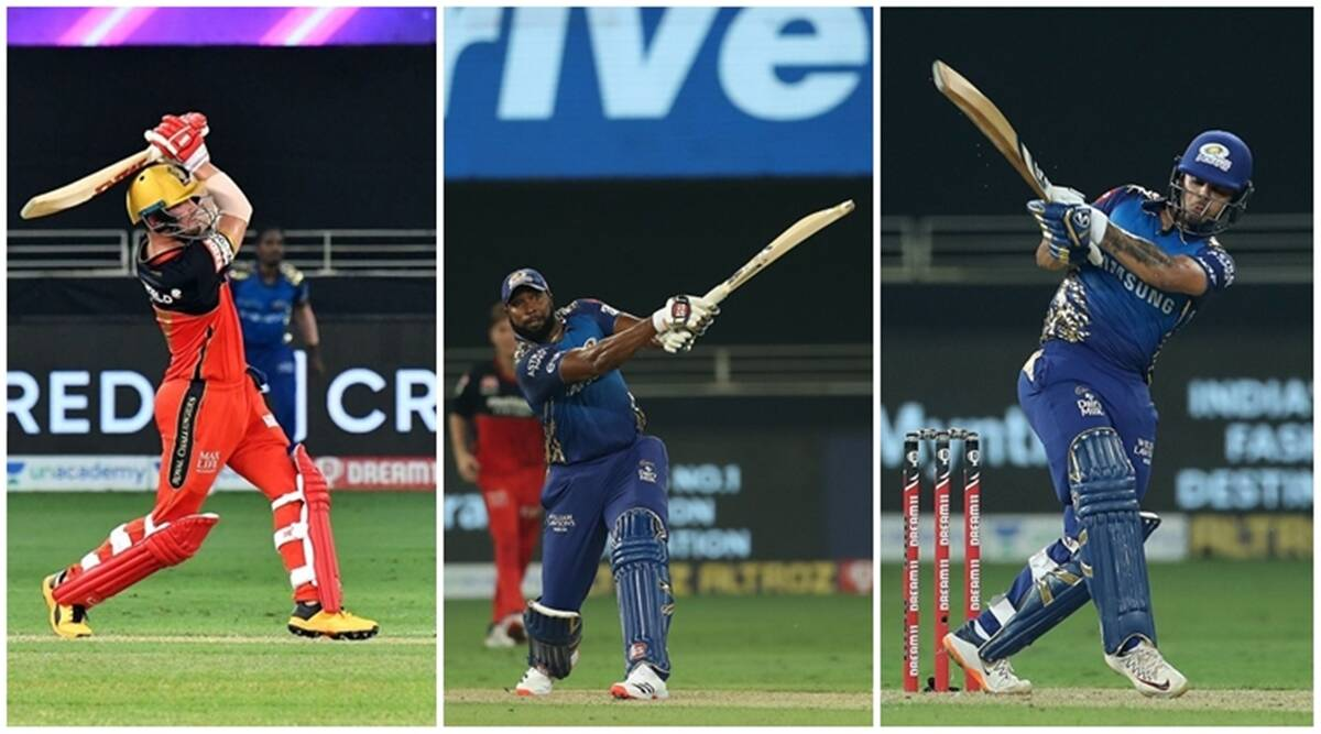ipl, ipl 2020, rcb vs mi, rcb vs mi sixes, rcb vs mi super over, kieron pollard, ishan kishan, ab de villiers, rcb vs mi sixes, cricket news, ipl 2020 updates
