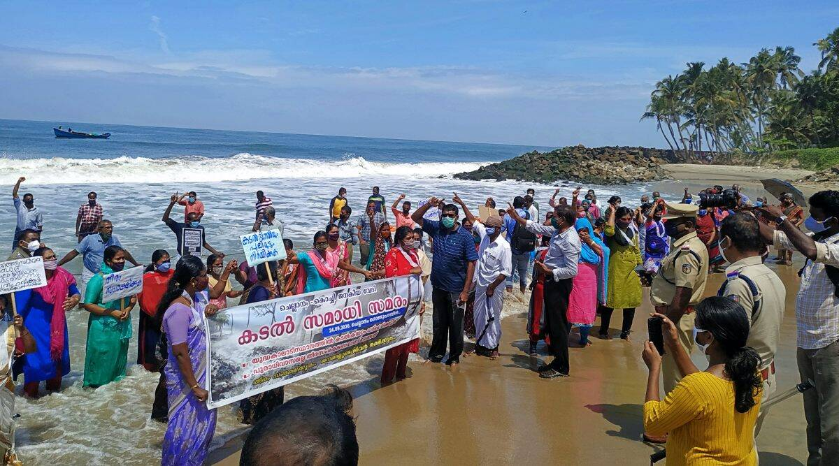 In Kerala's Chellanam, women protesters hold 'jalsamadhi' for sea-wall