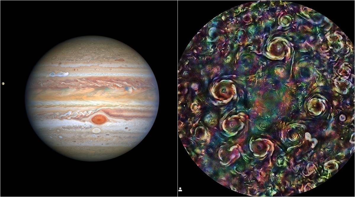jupiter cyclone images, jupiter cyclone reason, jupiter north pole, jupiter cyclone nasa, jupiter storm nasa, nasa juno mission