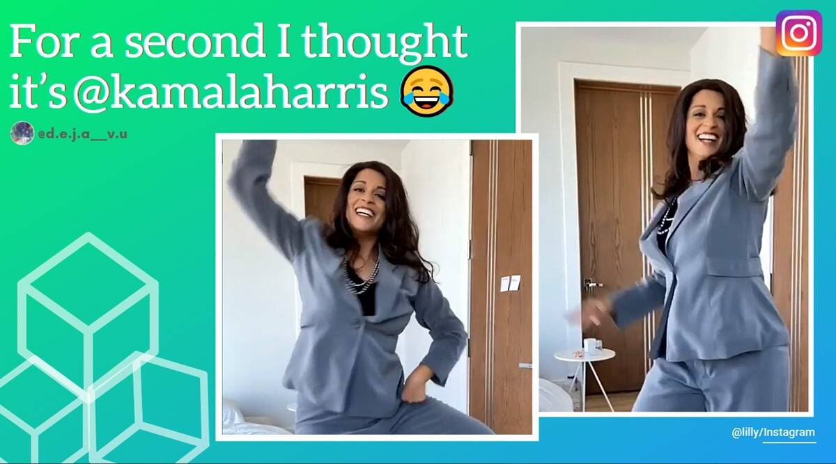 kamala harris, lilly singh, lilly singh kamala harris spoof, lilly singh kamala harris bhangra, WAP Challenge, Cardi B WAP song, viral videos, indian express