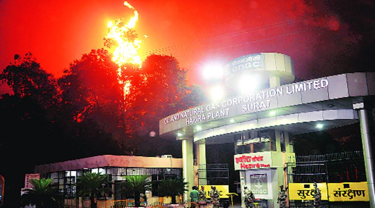 NTPC power plant ONGC plant fire, Gas supply stopped, Surat news, Indian express news