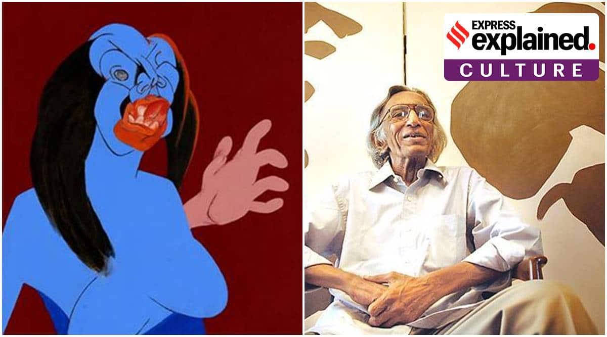 VS Gaitonder, Tyeb Mehta, Tyeb Mehta Kali painting, Raja Ravi Varma, Raja Ravi Varma Radha in the moonlight, indian artworks, expensive indian artworks auction, indian express explained