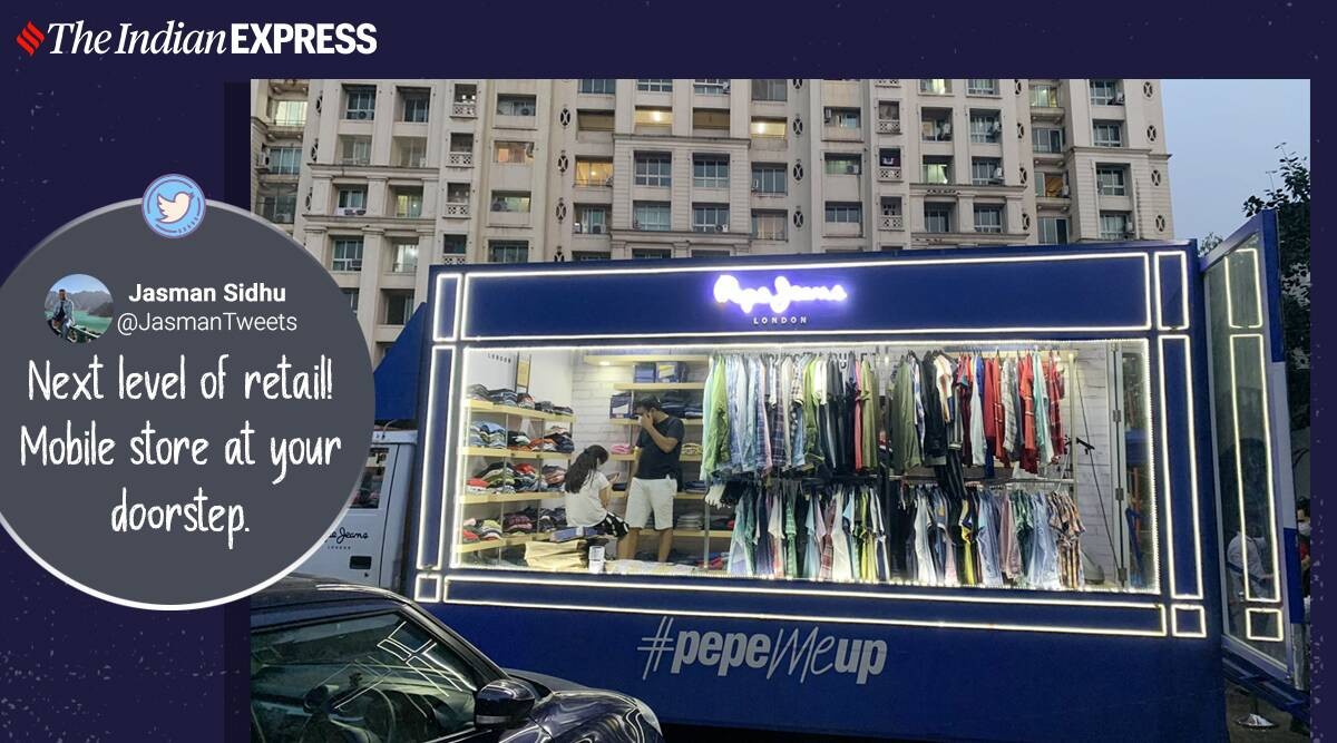 shops coming to housing society, retail shops coming at homes, retail brands pop up store, brands store on wheels, shop on wheels, covid 19 pandemic, viral news, indian express