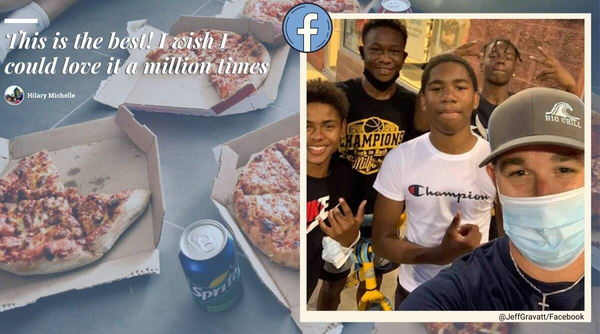 man gives pizza to boys losing bet, boy bet pizza for bicycle stunt, man gifts pizza to boys even after losing bet, good news, viral news, indian express