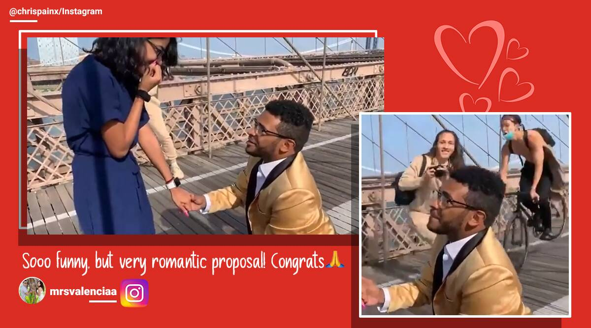Proposal video, proposal gone wrong, Brooklyn Bridge proposal, Cycle crash proposal, marriage proposal video, marriage proposal gone wrong, Funny proposal, viral proposal, Trending news, Indian Express news.