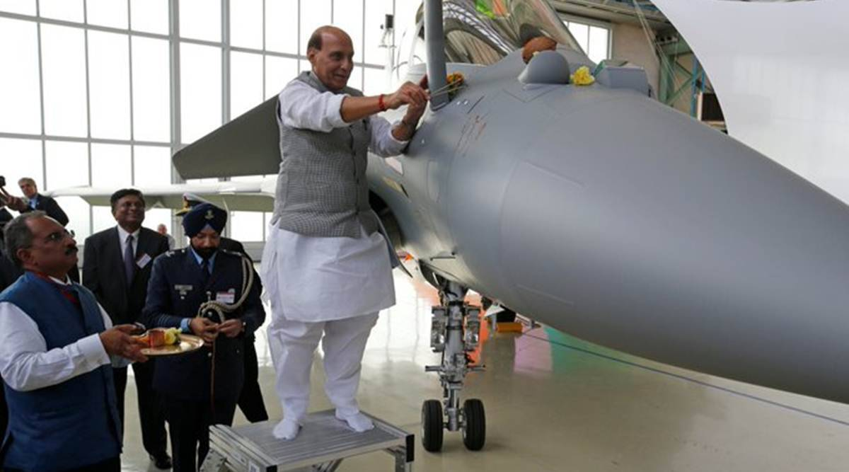 rafale, rafale induction, rajnath singh, rafale jet, ambala, indian express
