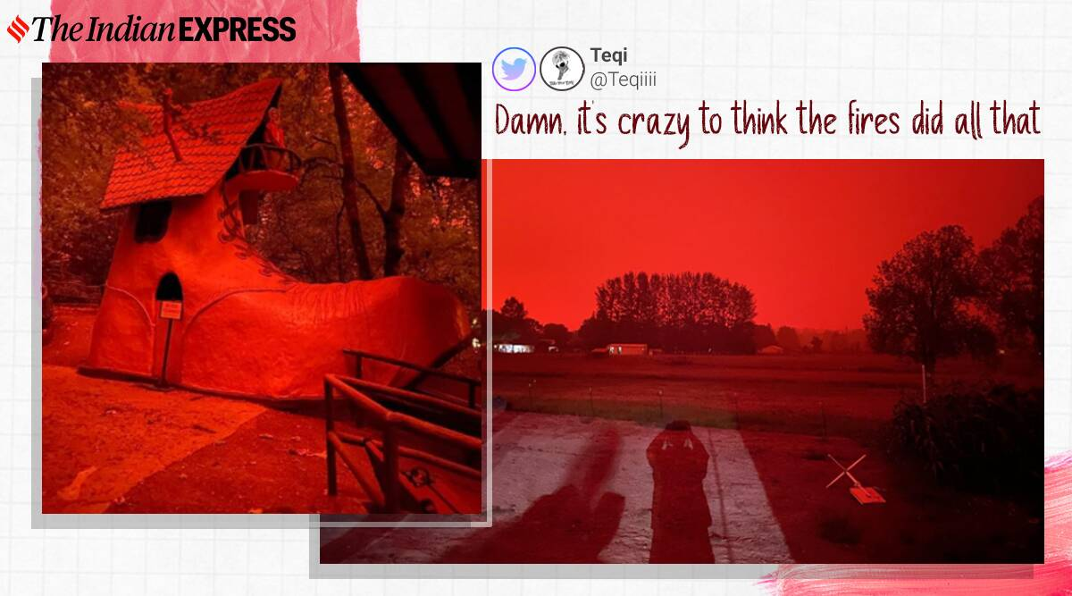 Wildfire, wildfire videos, wildfire pictures, Oregon wildfire, Oregon red skies, Washington California, trending news, viral videos, Indian Express news