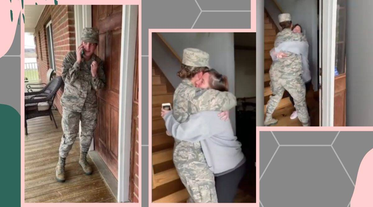 air force mother daughter reunion viral video, daughter surprises mom trending, indian express, indian express news