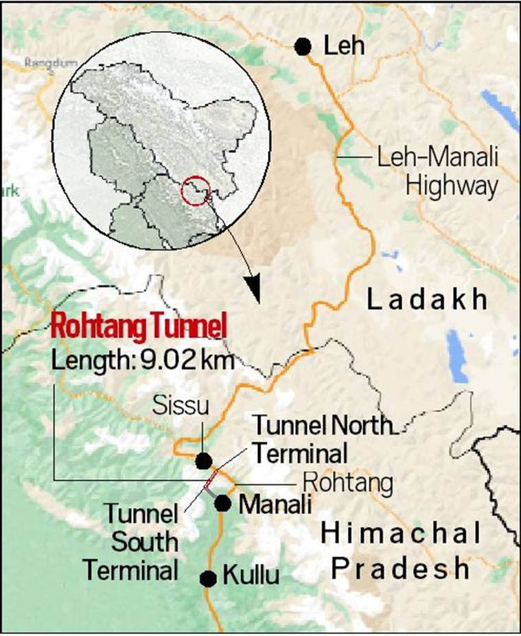 Rohtang tunnel, atal tunnel rohtang pass, rohtang pass, Rohtang tunnel inauguration, Rohtang tunnel features, Rohtang tunnel connectivity, Rohtang tunnel project, indian express